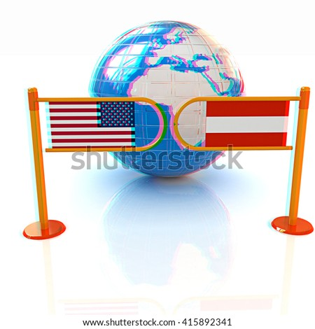 Three-dimensional image of the turnstile and flags of USA and Austria on a white background . 3D illustration. Anaglyph. View with red/cyan glasses to see in 3D. - stock photo