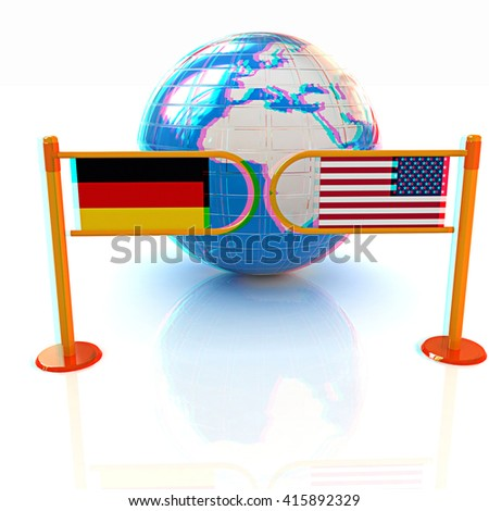 Three-dimensional image of the turnstile and flags of USA and Germany on a white background . 3D illustration. Anaglyph. View with red/cyan glasses to see in 3D. - stock photo