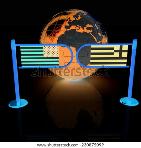 Three-dimensional image of the turnstile and flags of USA and Greece on a black background  - stock photo