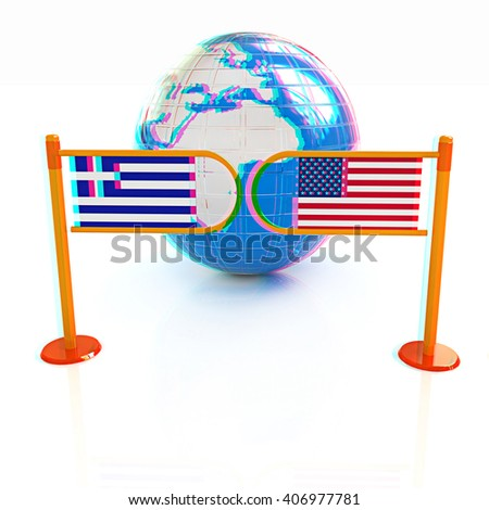 Three-dimensional image of the turnstile and flags of USA and Greece on a white background . 3D illustration. Anaglyph. View with red/cyan glasses to see in 3D. - stock photo