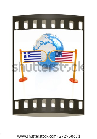 Three-dimensional image of the turnstile and flags of USA and Greece on a white background. The film strip - stock photo