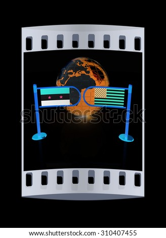 Three-dimensional image of the turnstile and flags of USA and Syria on a black background. The film strip - stock photo