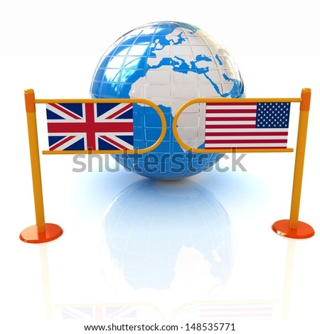 Three-dimensional image of the turnstile and flags of USA and UK on a white background - stock photo