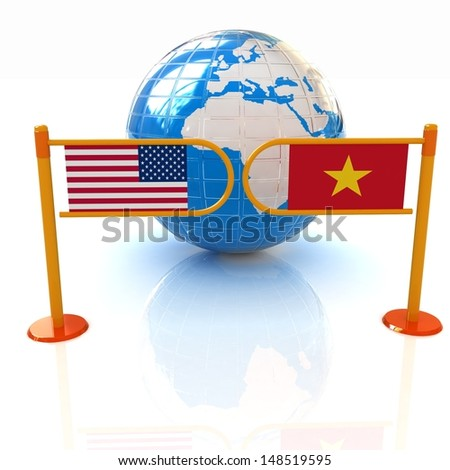 Three-dimensional image of the turnstile and flags of USA and Vietnam on a white background - stock photo