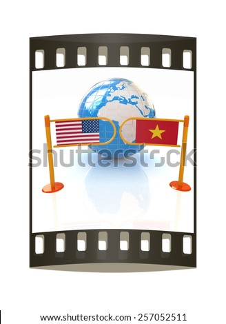 Three-dimensional image of the turnstile and flags of USA and Vietnam on a white background. The film strip - stock photo
