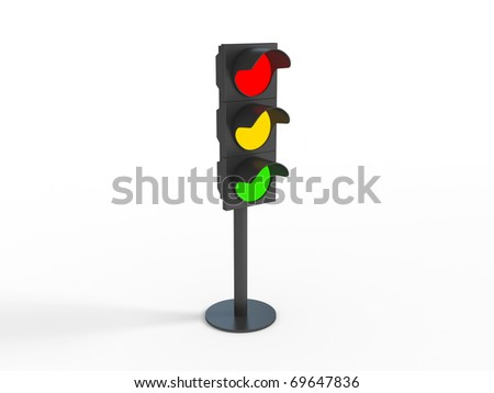 Three dimensional image of traffic lights - stock photo