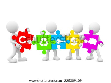 Three Dimensional Image of White Human Icons Holding Jigsaw Pieces with Environmental and Financial Icons - stock photo