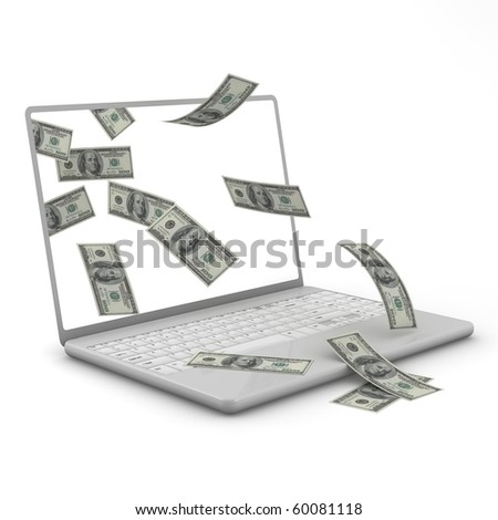 Three dimensional, isolated on white, Laptop and dollar bills. - stock photo