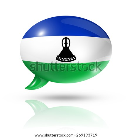 three dimensional Lesotho flag in a speech bubble isolated on white with clipping path - stock photo