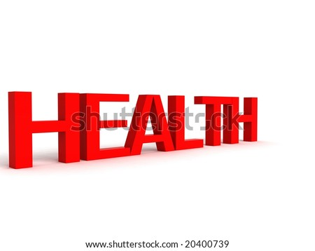 three dimensional letters of health against white background - stock photo