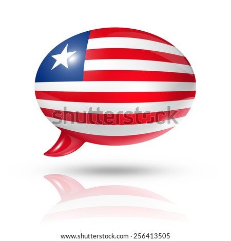 three dimensional Liberia flag in a speech bubble isolated on white with clipping path - stock photo