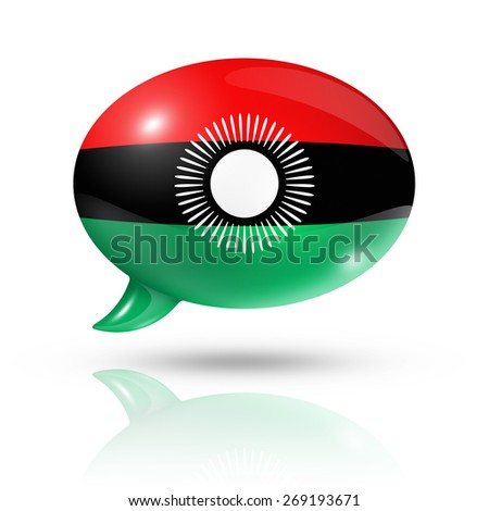 three dimensional Malawi flag in a speech bubble isolated on white with clipping path - stock photo