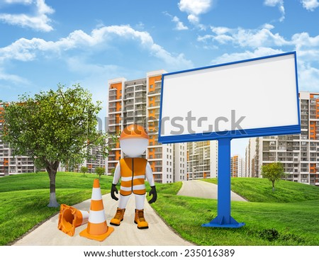 Three-dimensional man dressed as a road worker standing on road running through green hills. Green tree and billbord beside. Tall buildings in background - stock photo
