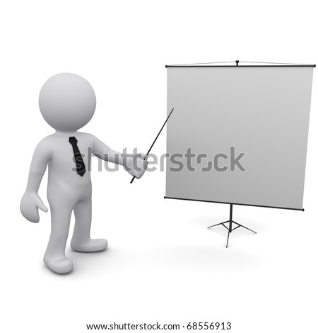"""Three-dimensional man holding a pointer and points to the board.Series """"3D Man"""" - stock photo"""