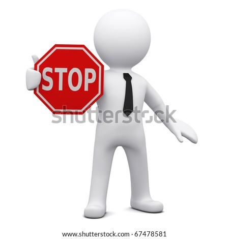 "Three-dimensional man holding a red ""STOP"" sign - stock photo"