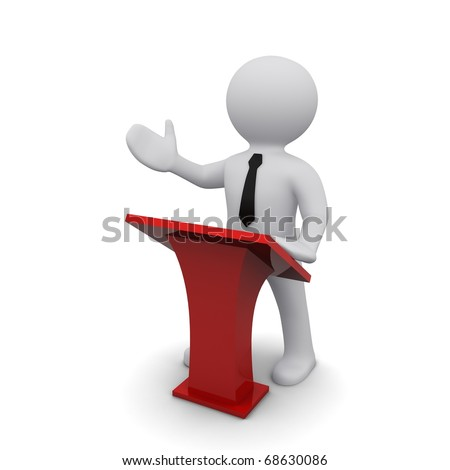 """Three-dimensional man in a black tie in favor of the red platform.Series """"3D Man"""" - stock photo"""