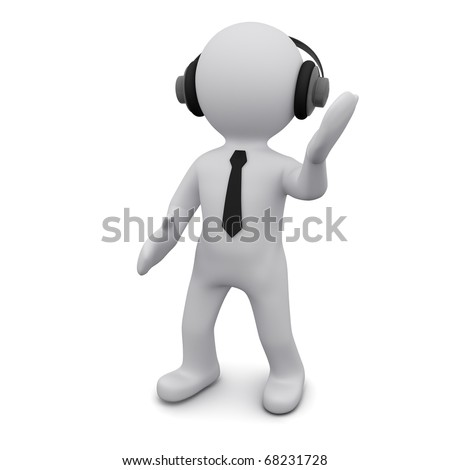 "Three-dimensional man in a black tie in headphones listens to music. Series ""3D Man"""
