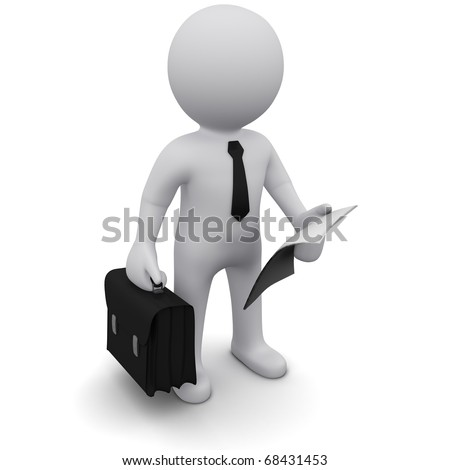 """Three-dimensional man in a black tie with a briefcase and a sheet of paper in his hands.Series """"3D Man"""" - stock photo"""
