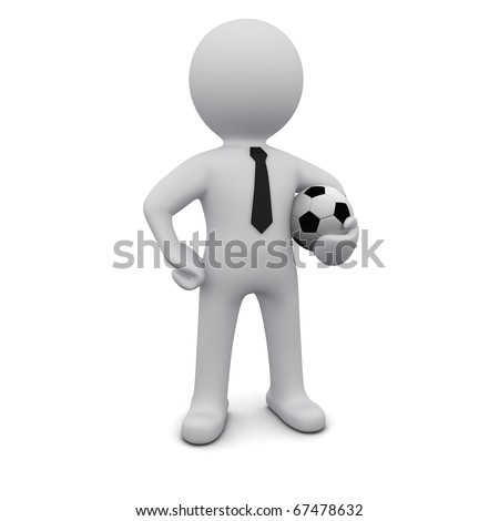 Three-dimensional man in a tie with a soccer ball in his hand - stock photo