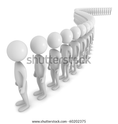 Three dimensional, Mans in a line - stock photo