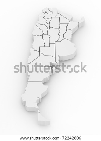 Three-dimensional map of Argentina on white isolated background. 3d - stock photo