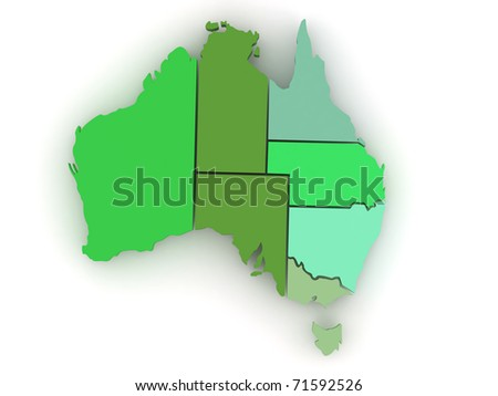 Three-dimensional map of Australia on white isolated background. 3d