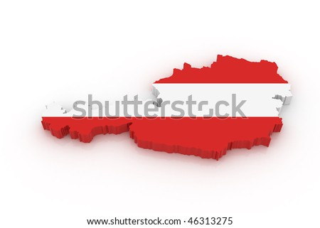 Three dimensional map of Austria in Austrian flag colors. - stock photo