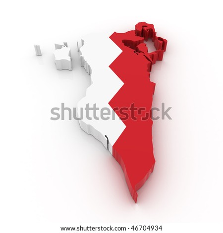 Three dimensional map of Bahrain in Bahrain flag colors. - stock photo