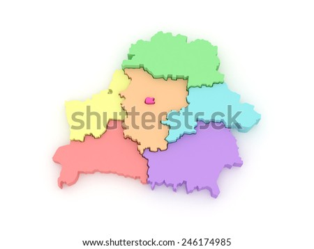 Three-dimensional map of Belarus. 3d - stock photo