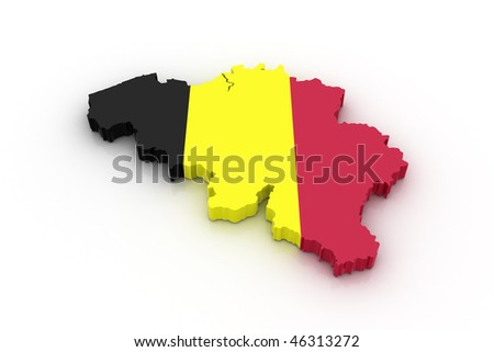 Three dimensional map of Belgium in Belgian flag colors.