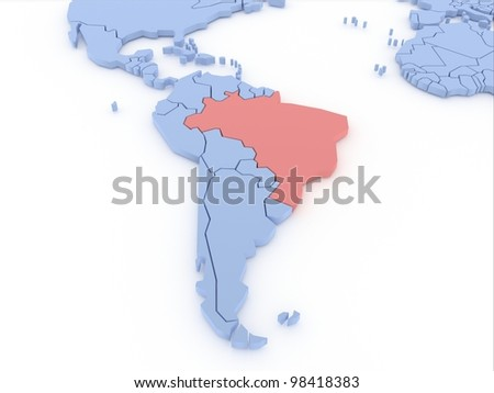 Three-dimensional map of Brasil isolated. 3d - stock photo