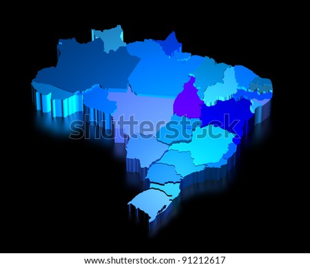 Three dimensional map of Brazil with black background - stock photo
