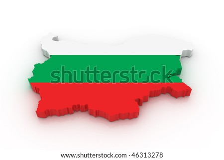 Three dimensional map of Bulgaria in Bulgarian flag colors.