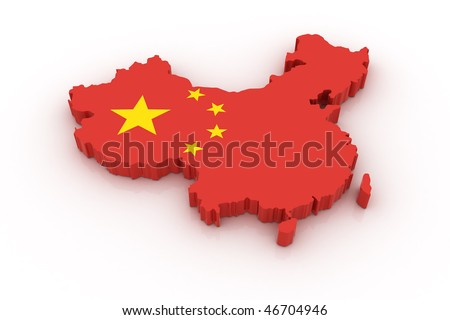 Three dimensional map of China in Chinese flag colors. - stock photo