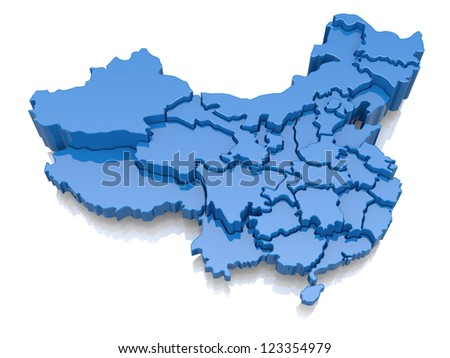 Three-dimensional map of China on white background. 3d - stock photo