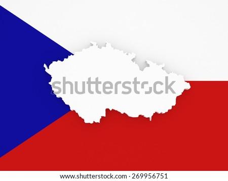 Three-dimensional map of Czech Republic. 3d - stock photo