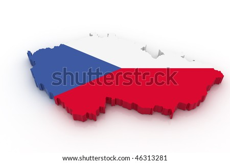 Three dimensional map of Czech republic in Czech flag colors. - stock photo