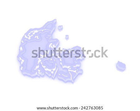 Three-dimensional map of Denmark. 3d - stock photo
