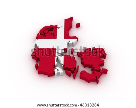 Three dimensional map of Denmark in Danish flag colors. - stock photo
