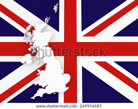 Three-dimensional map of England. 3d - stock photo