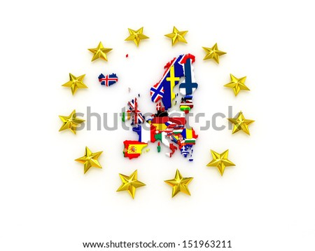 three-dimensional map of Europe. 3d - stock photo