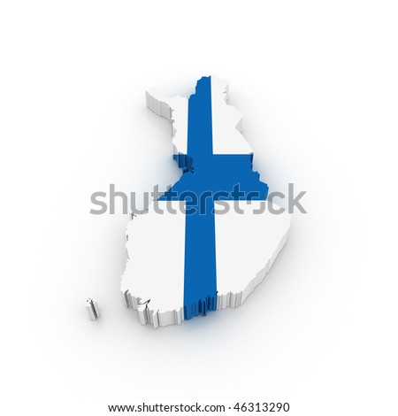 Three dimensional map of Finland in Finish flag colors. - stock photo