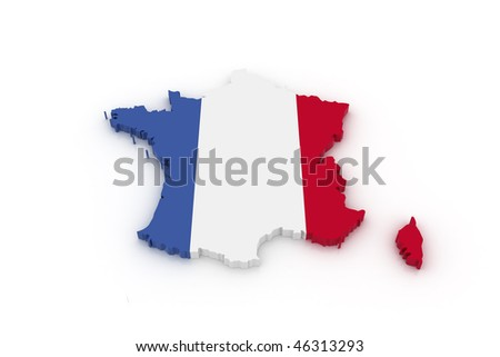 Three dimensional map of France in French flag colors. - stock photo