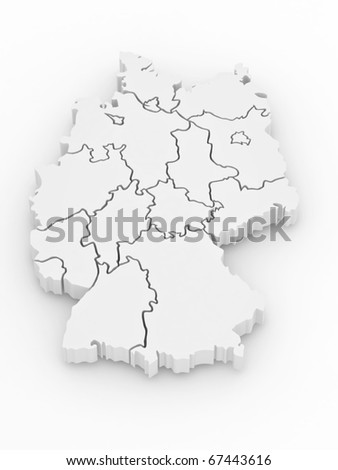 Three-dimensional map of Germany on white isolated background. 3d - stock photo