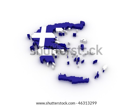 Three dimensional map of Greece in Greek flag colors. - stock photo