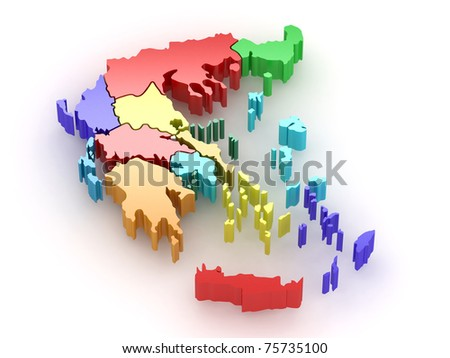 Three-dimensional map of Greece on white isolated background. 3d - stock photo