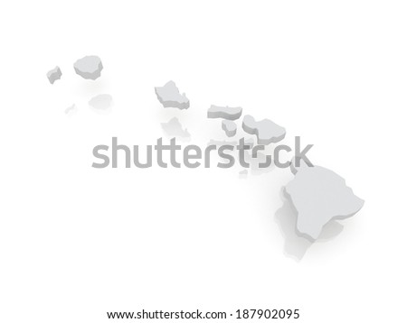 Three-dimensional map of Hawaii. USA. 3d - stock photo