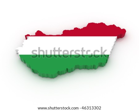 Three dimensional map of Hungary in Hungarian flag colors. - stock photo