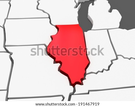 Three Dimensional Map Of Illinois Usa 3d Stock Photo