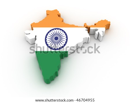 Three dimensional map of India in Indian flag colors. - stock photo